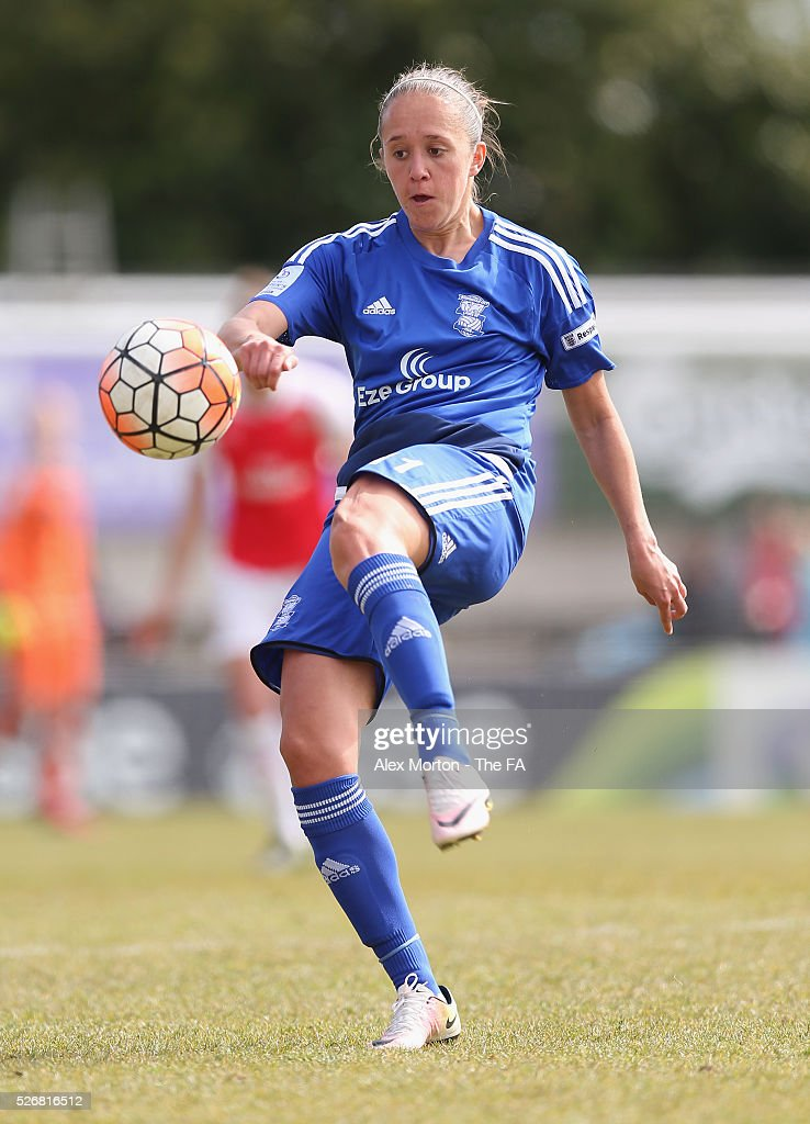 <a gi-track='captionPersonalityLinkClicked' href=/galleries/search?phrase=Josanne+Potter&family=editorial&specificpeople=7711654 ng-click='$event.stopPropagation()'>Josanne Potter</a> of Birmingham during the WSL match between Arsenal Ladies and Birmingham City Ladies at Meadow Park on May 1, 2016 in Borehamwood, England.