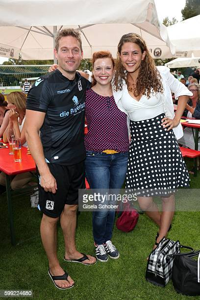 Joscha Kiefer Sina Reiss and Amanda di Gloria during the charity football game 'Kick for Kids' to benefit 'Die Seilschaft zusammen sind wir stark eV'...