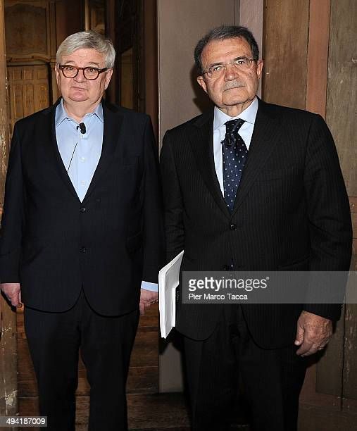 Joschka Fischer former Foreign Minister of Germany and Romano Prodi former Italian Prime Minister and President of the European Commission attend the...
