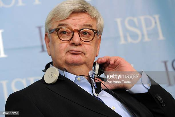 Joschka Fischer former Foreign Minister of Germany attends the 'The Future of Europe after elections' conference on May 28 2014 in Milan Italy The...