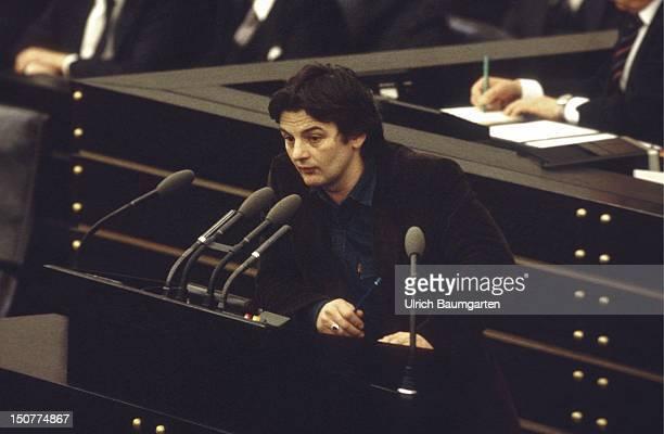 Joschka FISCHER member of the Federal German Parliament during his speech at the Federal German Parliament