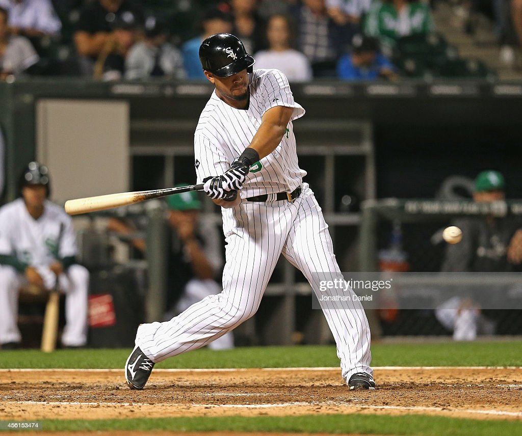 Jose Abreu of the Chicago White Sox bats against the Kansas City Royals at US Cellular Field on September 25 2014 in Chicago Illinois The Royals...