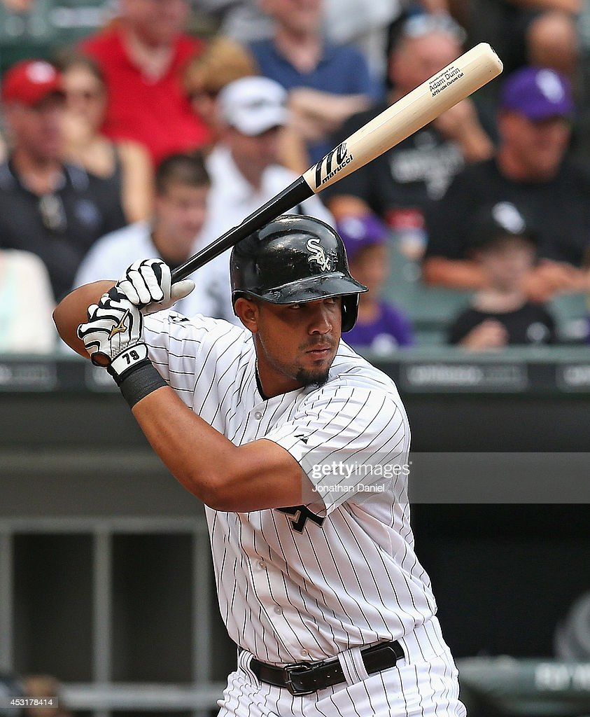 Jose Abreu of the Chicago White Sox bats against the Minnesota Twins at US Cellular Field on August 3 2014 in Chicago Illinois The Twins defeated the...