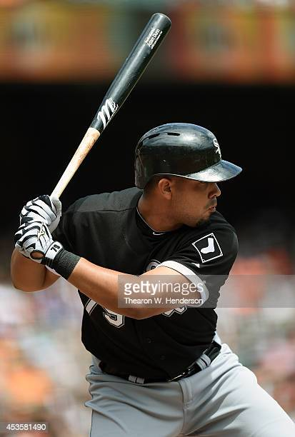 Jose Abreu of the Chicago White Sox bats against the San Francisco Giants in the top of the first inning at ATT Park on August 13 2014 in San...
