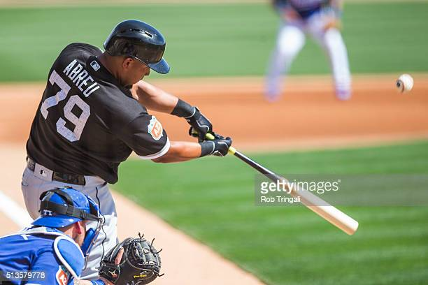 Jose Abreu of the Chicago White Sox bats during a spring training game against the Los Angeles Dodgers at Camelback Ranch on March 3 2016 in Glendale...