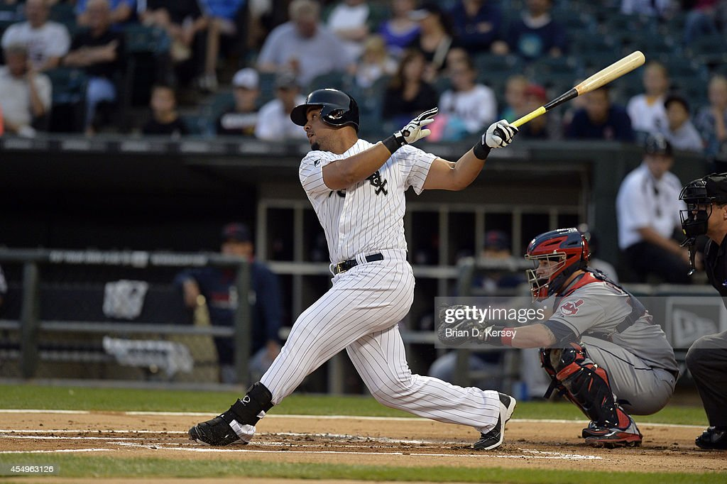 Jose Abreu of the Chicago White Sox bats during the first inning against the Cleveland Indians at US Cellular Field on August 27 2014 in Chicago...