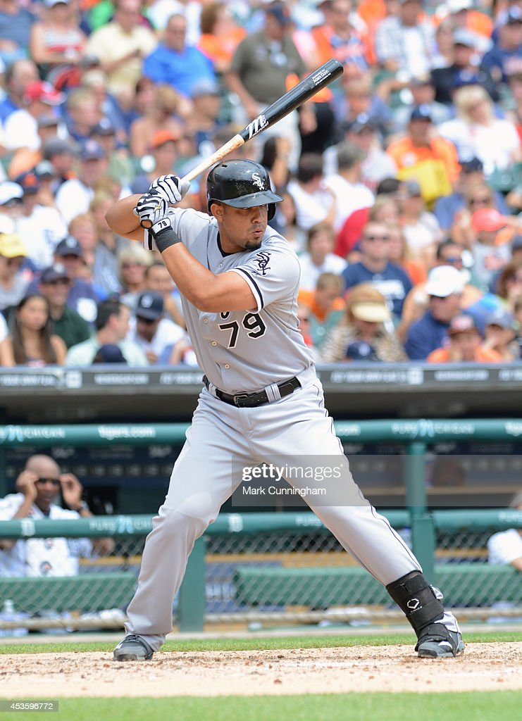 Jose Abreu #79 of the Chicago White Sox bats during the game against the Detroit Tigers at Comerica Park on July 31, 2014 in Detroit, Michigan. The White Sox defeated the Tigers 7-4.