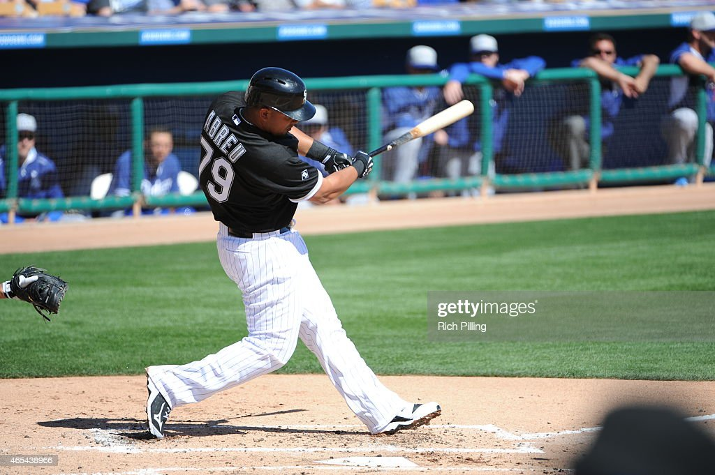 Jose Abreu of the Chicago White Sox bats during the game against the Los Angeles Dodgers on March 5 2015 at Camelback RanchGlendale in Glendale...