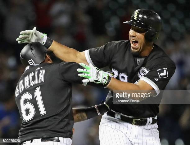 Jose Abreu of the Chicago White Sox celebrates his two run game winning double in the 9th inning with Willy Garcia against the New York Yankees at...