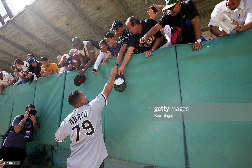 Jose Abreu of the Chicago White Sox greets fans on December 17, 2015 as part of an MLB Goodwill trip to Cuba.