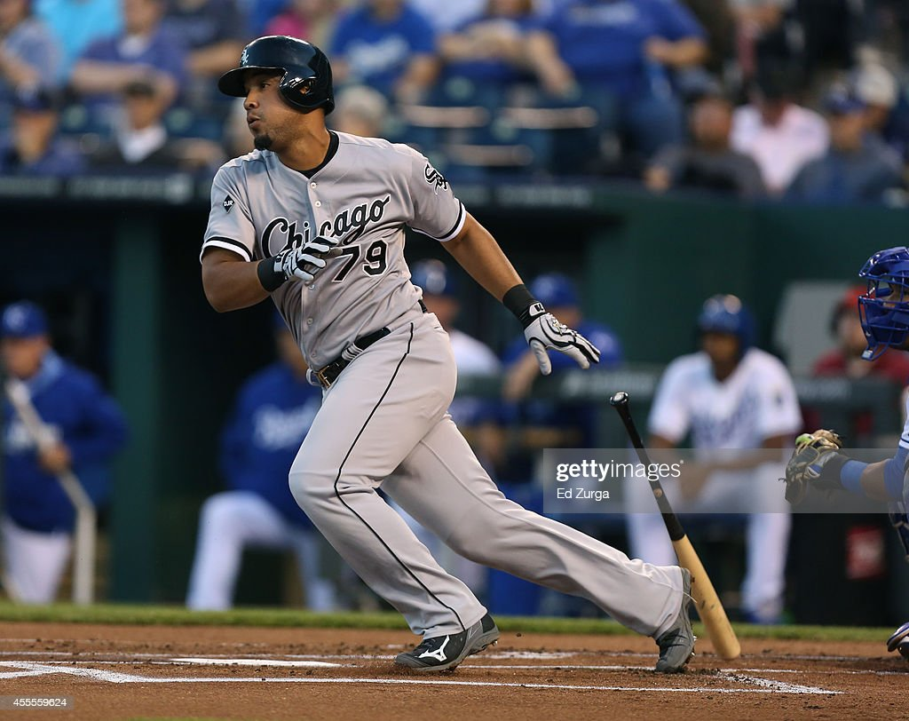 Jose Abreu of the Chicago White Sox grounds out in the first inning during a game against the Kansas City Royals at Kauffman Stadium on September 16...
