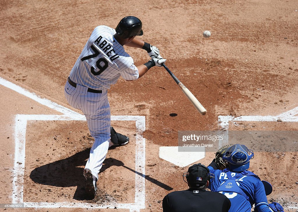 Jose Abreu #79 of the Chicago White Sox hits a double in the 1st inning against the Kansas City Royals at U.S. Cellular Field on July 23, 2014 in Chicago, Illinois.