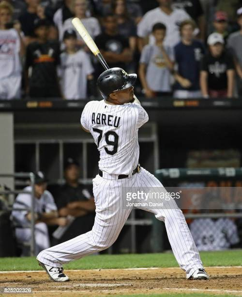 Jose Abreu of the Chicago White Sox hits a gametying single in the 9th inning against the Toronto Blue Jays at Guaranteed Rate Field on July 31 2017...