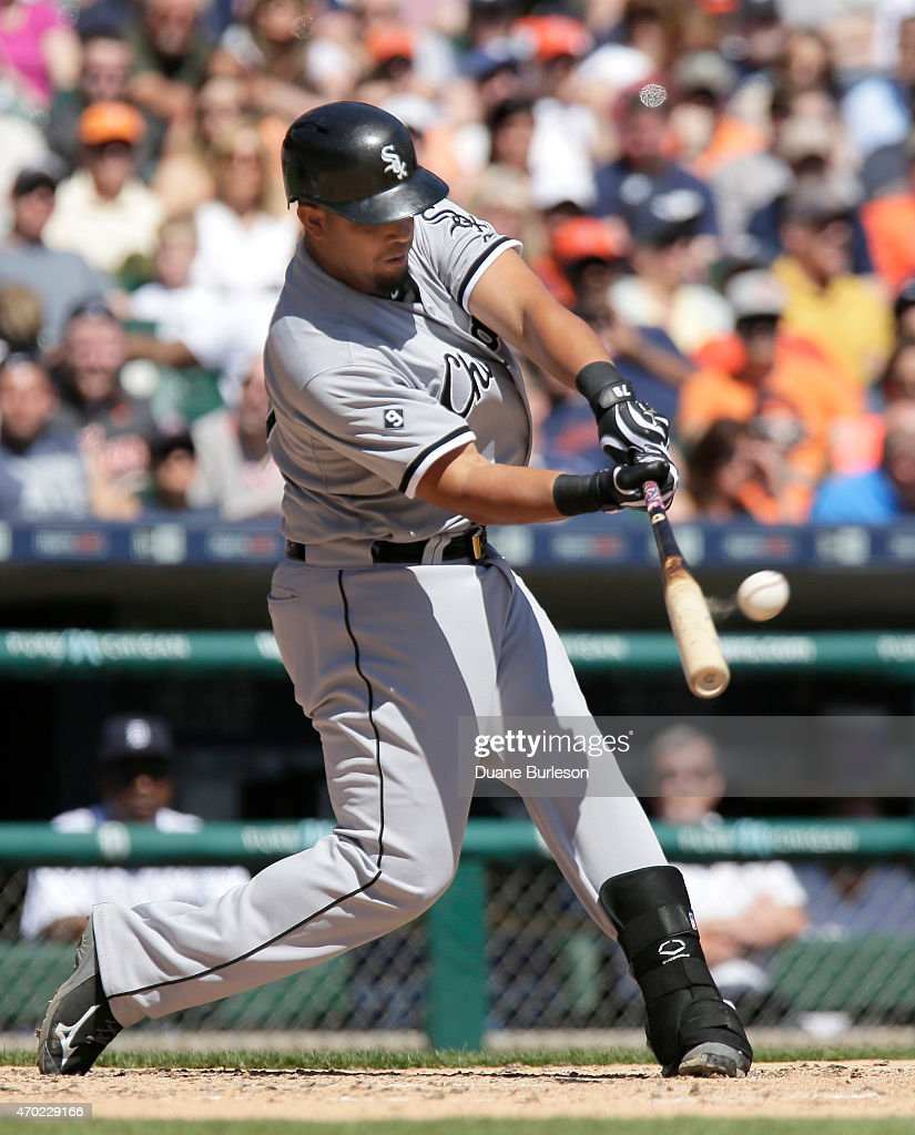 Jose Abreu of the Chicago White Sox hits a grand slam off of pitcher Anibal Sanchez of the Detroit Tigers during the fourth inning at Comerica Park...