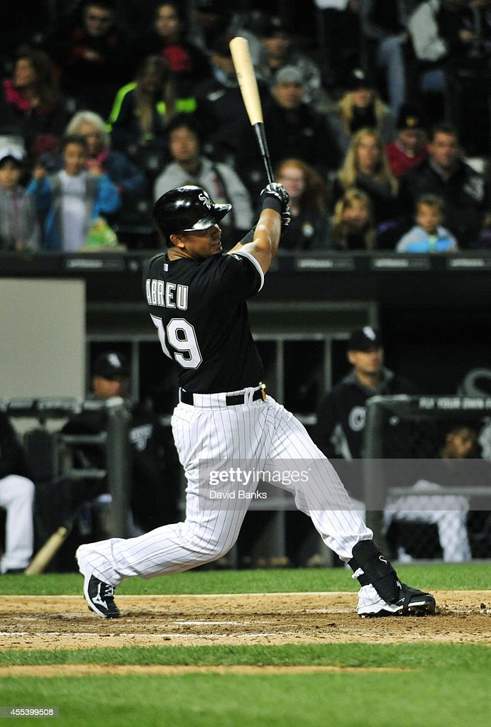 Jose Abreu of the Chicago White Sox hits a home run against the Minnesota Twins during the fifth inning in game two of a doubleheader on September 13...
