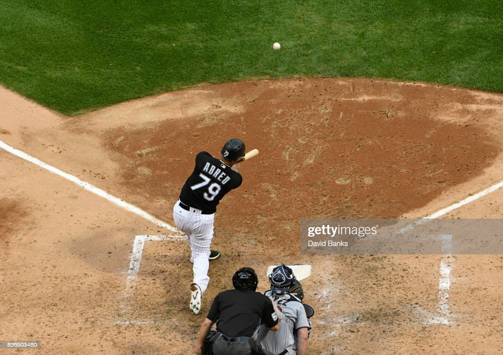 Jose Abreu #79 of the Chicago White Sox hits a home run against the Minnesota Twins during the fifth inning in game one of a doubleheader on August 21, 2017 at Guaranteed Rate Field in Chicago, Illinois.