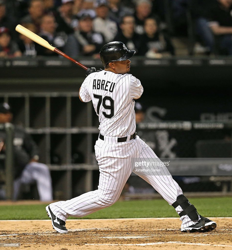 Jose Abreu of the Chicago White Sox hits a tworun home run in the 5th inning his 18th of the season against of the Detroit Tigers at US Cellular...