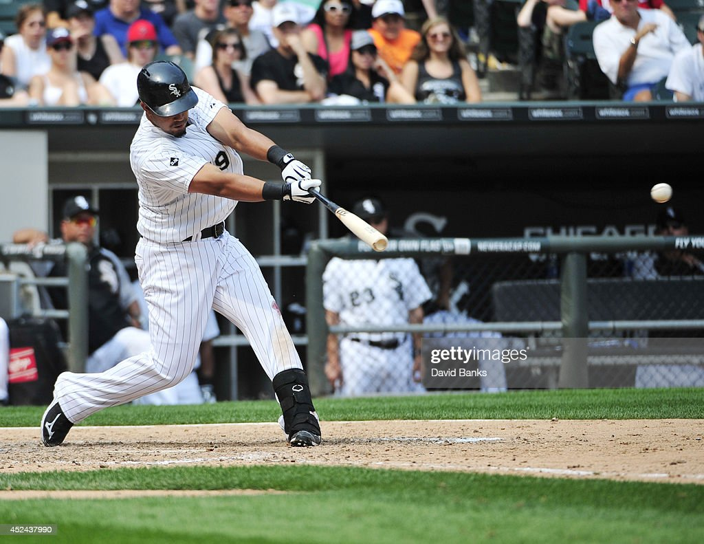 Jose Abreu #79 of the Chicago White Sox hits an RBI single against the Houston Astros during the sixth inning on July 20, 2014 at U.S. Cellular Field in Chicago, Illinois.