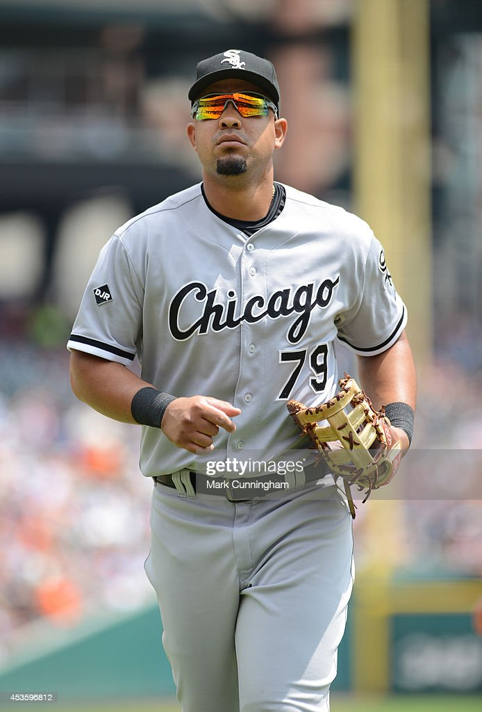 Jose Abreu #79 of the Chicago White Sox looks on during the game against the Detroit Tigers at Comerica Park on July 31, 2014 in Detroit, Michigan. The White Sox defeated the Tigers 7-4.
