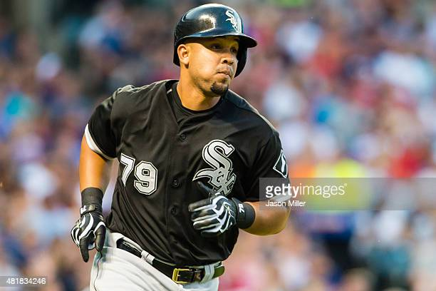 Jose Abreu of the Chicago White Sox rounds the bases after hitting a solo home run during the sixth inning against the Cleveland Indians at...
