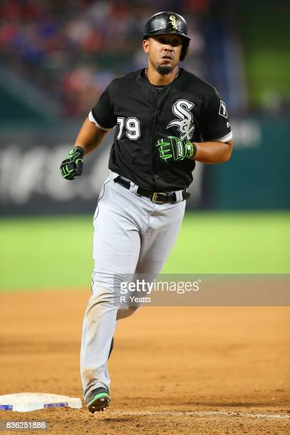 Jose Abreu of the Chicago White Sox runs in to in the seventh inning against the Texas Rangers at Globe Life Park in Arlington on August 19 2017 in...