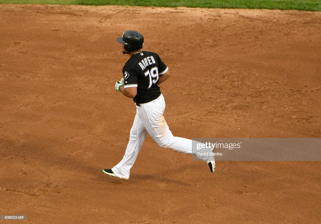 Jose Abreu #79 of the Chicago White Sox runs the bases after hitting a home run against the Minnesota Twins during the fifth inning in game one of a doubleheader on August 21, 2017 at Guaranteed Rate Field in Chicago, Illinois.
