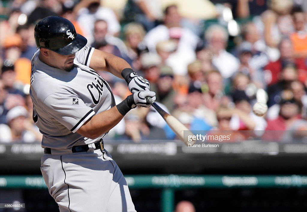 Jose Abreu of the Chicago White Sox singles against the Detroit Tigers during the sixth inning at Comerica Park on September 24 in Detroit Michigan...