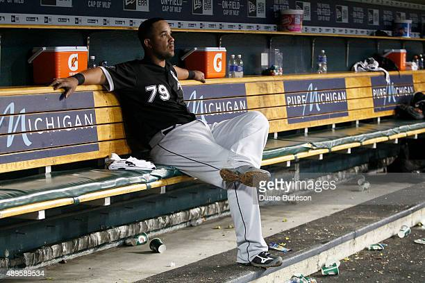 Jose Abreu of the Chicago White Sox sits in the dugout following a 21 loss to the Detroit Tigers in the 10th inning at Comerica Park on September 22...