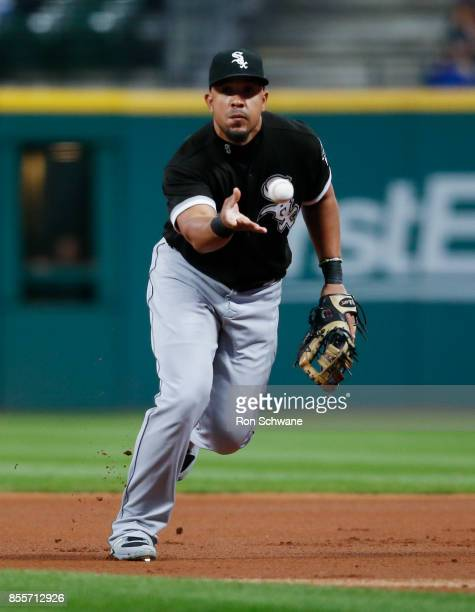 Jose Abreu of the Chicago White Sox throws out Francisco Lindor of the Cleveland Indians at first base during the first inning at Progressive Field...