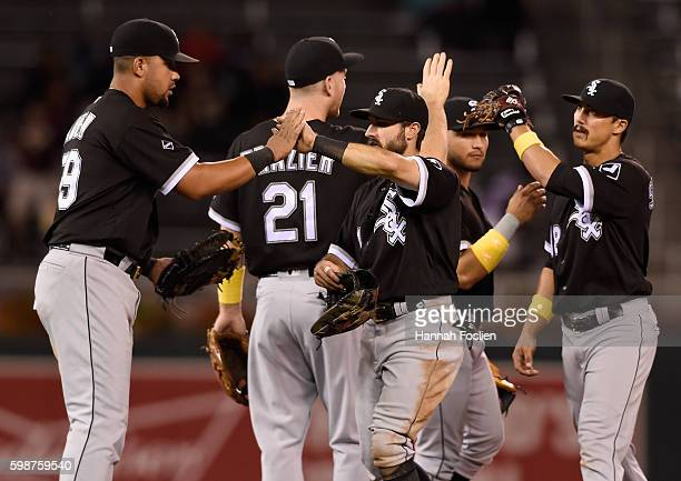 Jose Abreu Todd Frazier Adam Eaton Carlos Sanchez and Tyler Saladino of the Chicago White Sox celebrate winning the game against the Minnesota Twins...