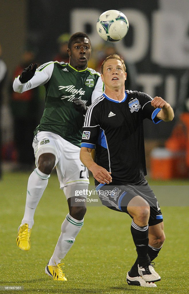 Jose Adolfo Valencia #20 of Portland Timbers tries to get around Ty Harden #2 of San Jose Earthquakes during the second half of the game against the San Jose Earthquakes at Jeld-Wen Field on February 17, 2013 in Portland, Oregon. The game ended in a 3-3 draw.Photo by Steve Dykes/Getty Images)