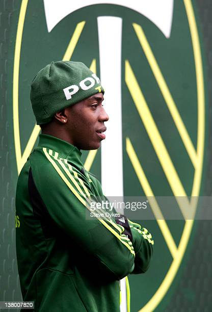 Jose Adolfo Valencia of the Portland Timbers looks out at the action on the field after the opening day of training camp on January 23 2012 in...