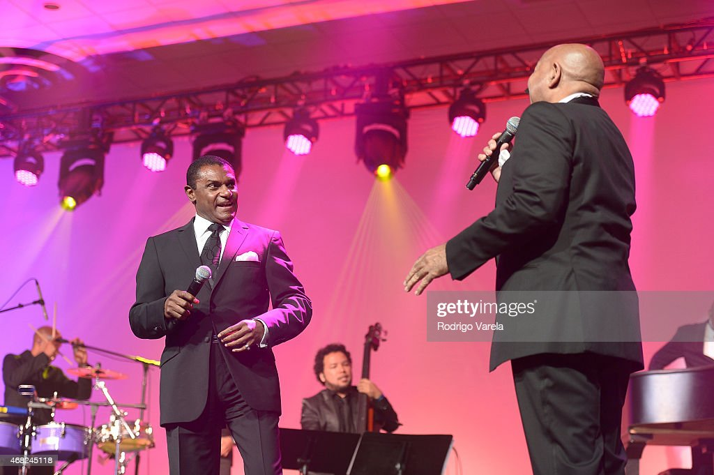 Jose Alberto and Oscar D'Leon perform onstage at BMI's 22nd Annual Latin Music Awards at Fountainbleau Miami Beach on March 31 2015 in Miami Beach...