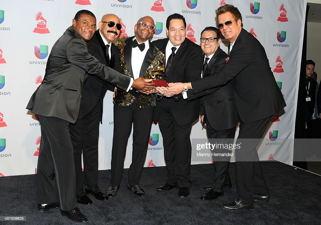 Jose Alberto El Canario, Oscar D Leon, Sergio George, Tito Nieves, Ismael Miranda and Willy Chirino at the 14th Annual Latin GRAMMY Awards - Press Room on November 21, 2013 in Las Vegas, Nevada.