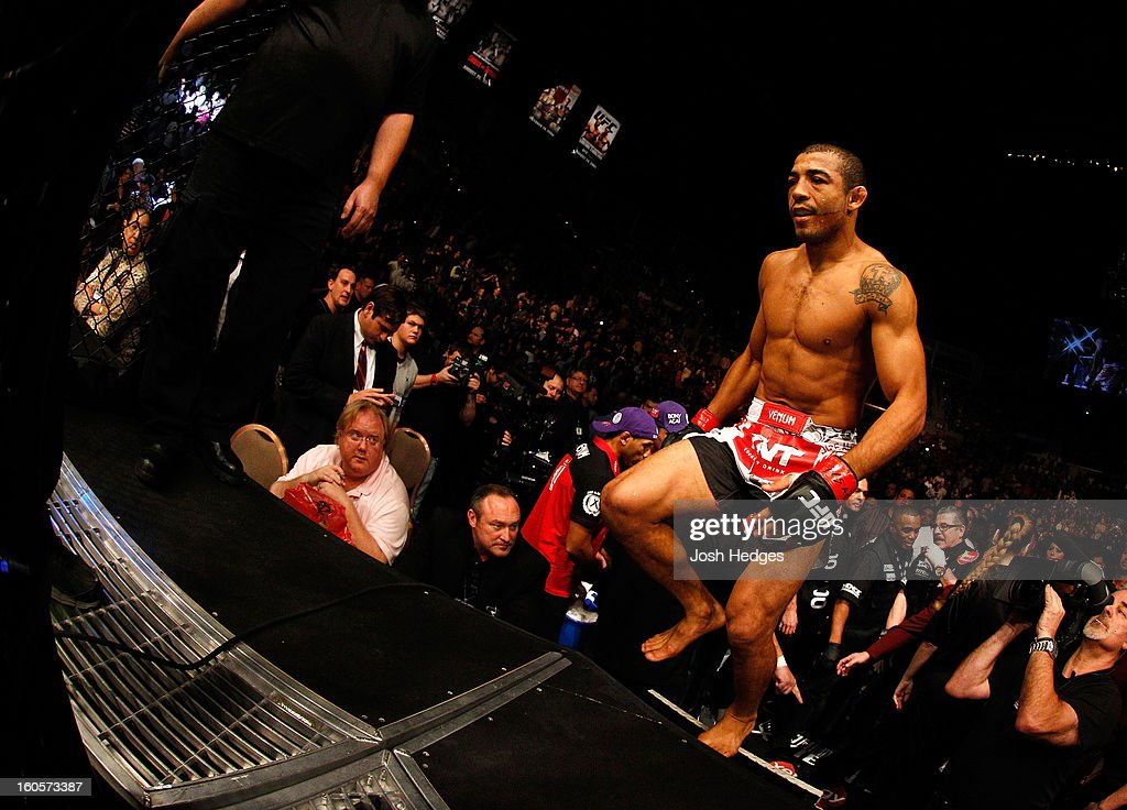 Jose Aldo enters the Octagon to face Frankie Edgar before their featherweight title fight at UFC 156 on February 2, 2013 at the Mandalay Bay Events Center in Las Vegas, Nevada.