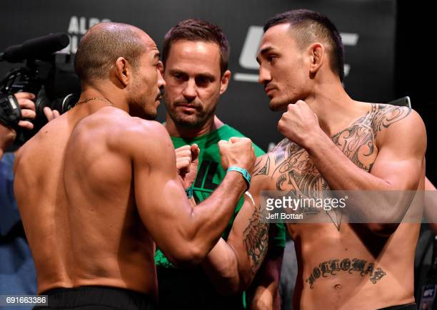 Jose Aldo of Brazil and Max Holloway of the United States face off during the UFC 212 weighin at Jeunesse Arena on June 2 2017 in Rio de Janeiro...