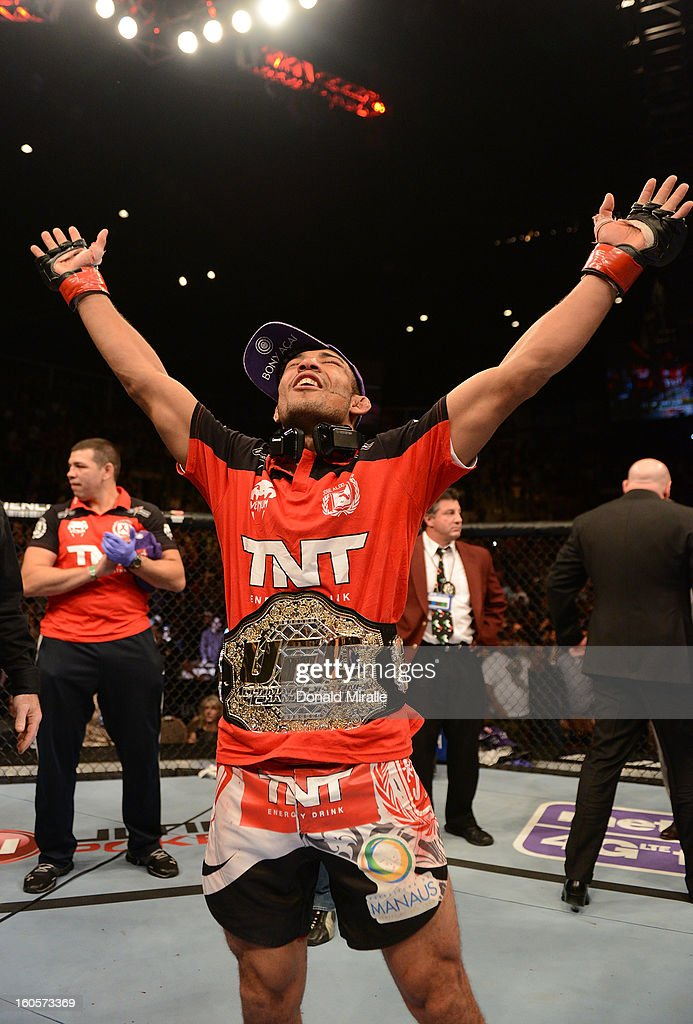Jose Aldo reacts to his victory over Frankie Edgar after their featherweight title fight at UFC 156 on February 2, 2013 at the Mandalay Bay Events Center in Las Vegas, Nevada.