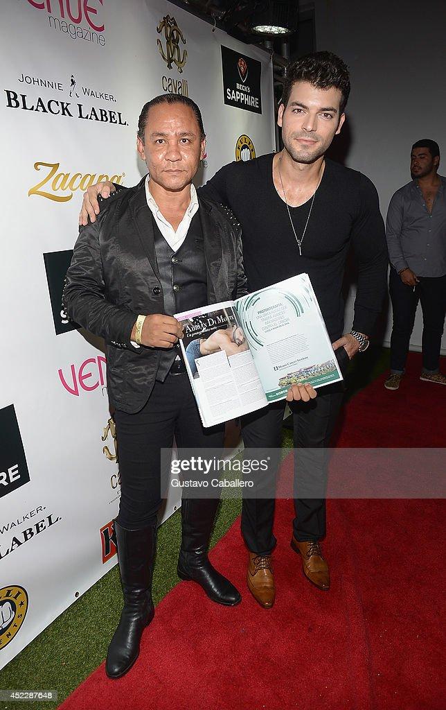 Jose Alexzander and Adrian Di Monte arrives at the Cavalli Miami on July 16, 2014 in Miami Beach, Florida.