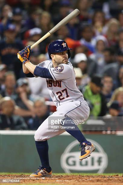 Jose Altuve of the Houston Astros bats during a game against the Boston Red Sox at Fenway Park on September 29 2017 in Boston Massachusetts