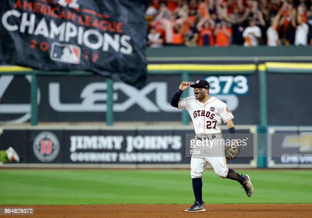 Jose Altuve of the Houston Astros celebrates after defeating the New York Yankees by a score of 40 to win Game Seven of the American League...