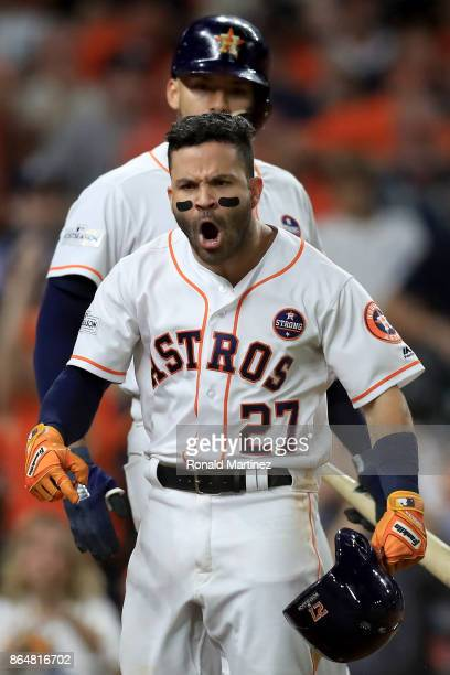 Jose Altuve of the Houston Astros celebrates after hitting a solo home run against Tommy Kahnle of the New York Yankees during the fifth inning in...
