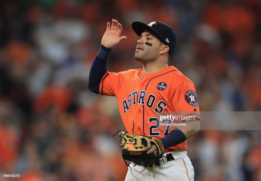 Jose Altuve #27 of the Houston Astros celebrates defeating the Boston Red Sox 8-2 in game two of the American League Division Series at Minute Maid Park on October 6, 2017 in Houston, Texas.