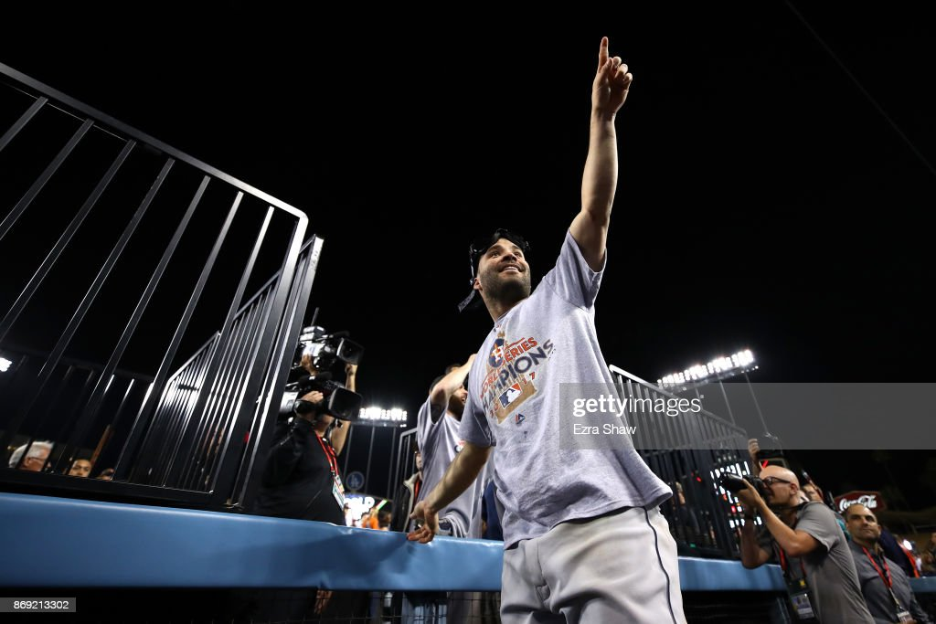 Jose Altuve #27 of the Houston Astros celebrates defeating the Los Angeles Dodgers 5-1 in game seven to win the 2017 World Series at Dodger Stadium on November 1, 2017 in Los Angeles, California.