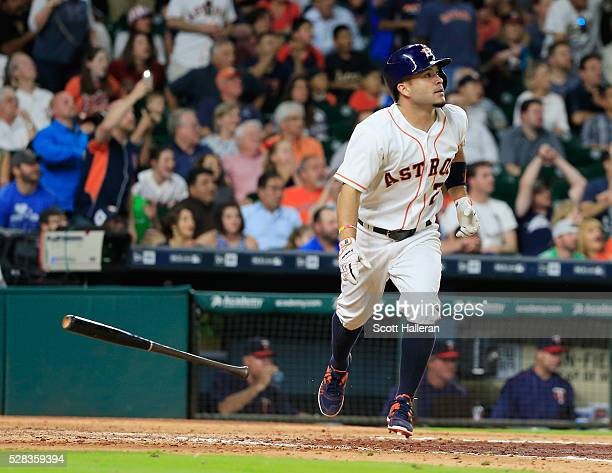 Jose Altuve of the Houston Astros connects on a tworun double in the fifth inning during their game against the Minnesota Twins at Minute Maid Park...