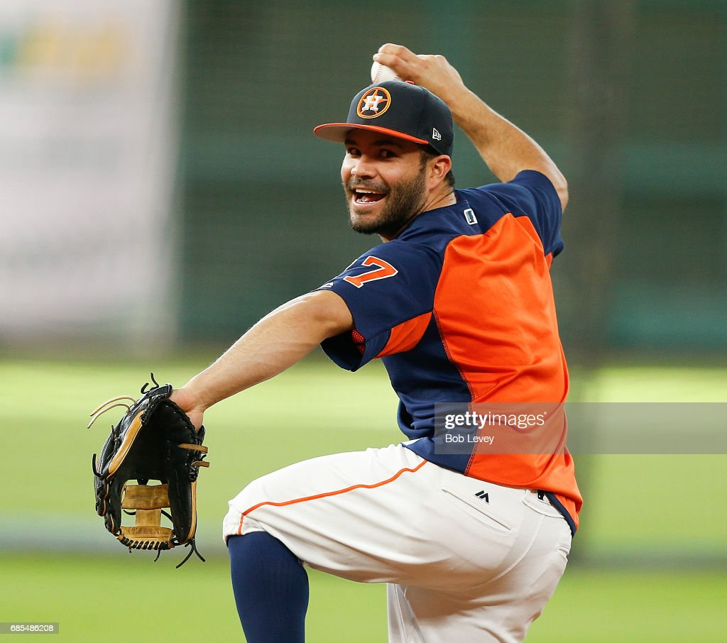 Jose Altuve #27 of the Houston Astros during batting practice at Minute Maid Park on May 19, 2017 in Houston, Texas.