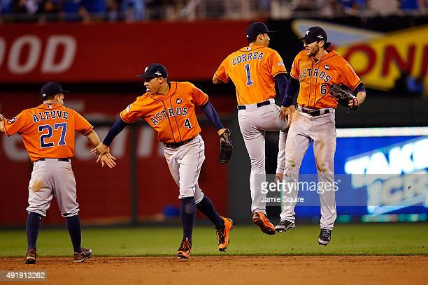 Jose Altuve of the Houston Astros George Springer of the Houston Astros Carlos Correa of the Houston Astros and Jake Marisnick of the Houston Astros...