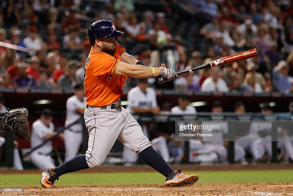 <a gi-track='captionPersonalityLinkClicked' href=/galleries/search?phrase=Jose+Altuve&family=editorial&specificpeople=7934195 ng-click='$event.stopPropagation()'>Jose Altuve</a> #27 of the Houston Astros hits a RBI single against the Arizona Diamondbacks during the fourth inning of the MLB game at Chase Field on May 31, 2016 in Phoenix, Arizona.