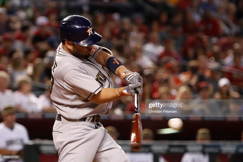<a gi-track='captionPersonalityLinkClicked' href=/galleries/search?phrase=Jose+Altuve&family=editorial&specificpeople=7934195 ng-click='$event.stopPropagation()'>Jose Altuve</a> #27 of the Houston Astros hits a RBI triple against the Arizona Diamondbacks during the fourth inning of the MLB game at Chase Field on May 30, 2016 in Phoenix, Arizona.