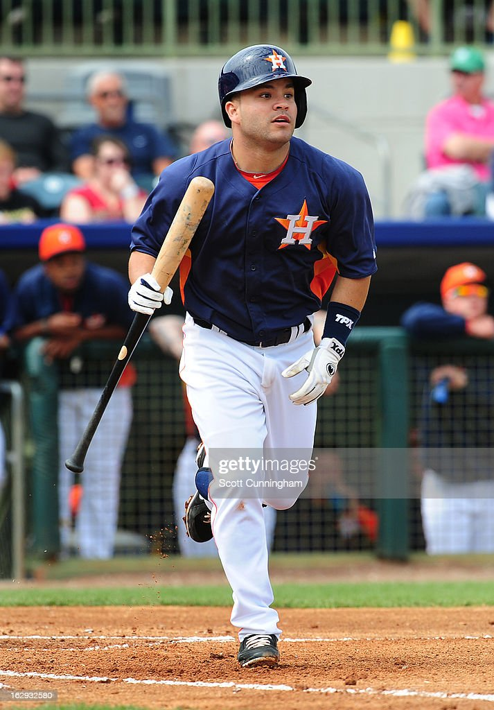 <a gi-track='captionPersonalityLinkClicked' href=/galleries/search?phrase=Jose+Altuve&family=editorial&specificpeople=7934195 ng-click='$event.stopPropagation()'>Jose Altuve</a> #27 of the Houston Astros hits against the St. Louis Cardinals during a spring training game at Osceola County Stadium on March 1, 2013 in Kissimmee, Florida.
