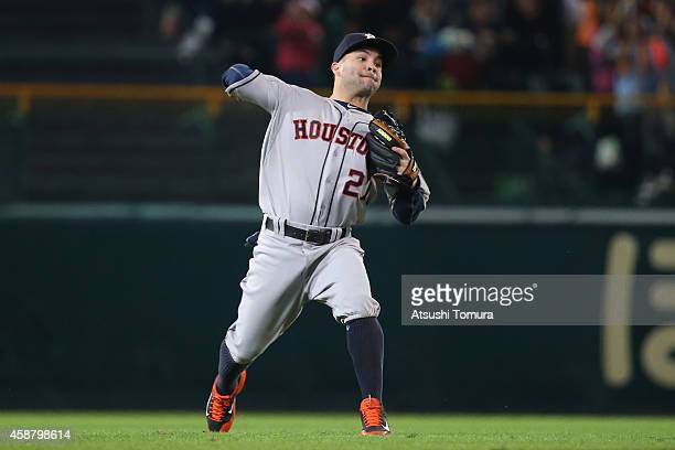 Jose Altuve of the Houston Astros in action during the friendly match between Hanshin Tigers and Yomiuri Giants at the Hanshin Koshien Stadium on...